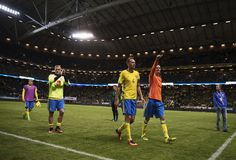John Guidetti of Sweden, Anderas Granqvist of Sweden and Mikael Lustig of Sweden…