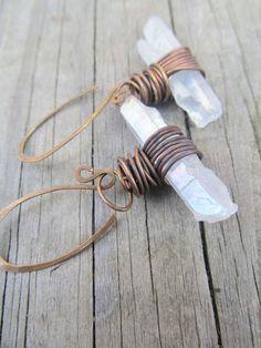 Rustic Quartz Crystal Point Earrings Rustic Wire Wrap Jewelry Dangle Earrings Brass Jewelry.