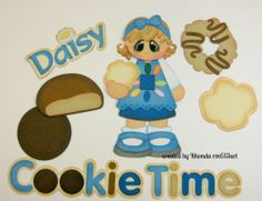Daisy Cookie Time girl paper piecing set premade scrapbook page -Rhonda rm613art