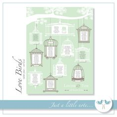 Love Birds Table plan - Vertical version -  Digital Printable File - DIY Wedding Table Seating Plan PDF