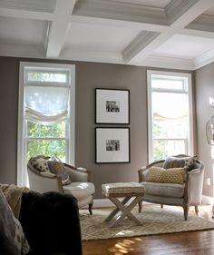 Before/After Living Room Makeover~A Design Plan Comes To Life for Erik and Sara (neighbors).  Walls:  Gray Squirrel, Martha Stewart. 243