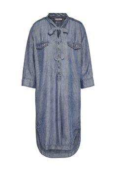 Chambray blouse  met krijtstreep Dark Denim