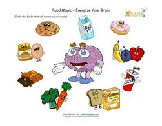 Cute worksheet that teaches children the foods that help your brain.  A healthy start to school always begins with foods from the five food groups for breakfast.