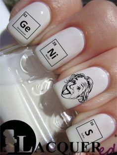 OMG!!  PERFECT!!!  20 Albert Einstein Genuis Nail Art Decals Back by TheLacqueredBox, $2.50 (Etsy)