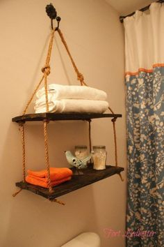Wood Profits - Fort Ledbetters discussion on Hometalk. DIY Rope Shelving - Build some inexpensive rope shelves with pallet boards using this tutorial. - Discover How You Can Start A Woodworking Business From Home Easily in 7 Days With NO Capital Needed! Scrap Wood Projects, Home Projects, Woodworking Projects, Woodworking Workbench, Woodworking Supplies, Fine Woodworking, Rope Shelves, Hanging Shelves, Wood Shelf
