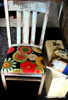 Beyond The Picket Fence: Fun Pop of Color on chair