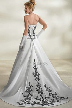 A-Line Strapless Satin Wedding Dress - IZIDRESSES.COM  at izidressy.co.uk