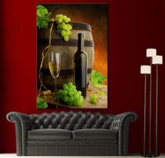 Canvas Print White Wine Grapes Still Life Wall Art Prints Picture Colorful Decor