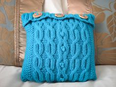 Aqua blue hand knitted aran design mini cushion by JenStarKnits