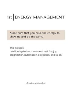 ⚡ Don't miss this important first step! When it comes to getting shit done, there's one crucial step that is often totally neglected: Energy Management.
