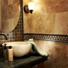 Stone Basin Travertine & Slate Bathroom