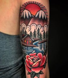 Arm tattoo // 30+ Beautifully Colourful Traditional Tattoos