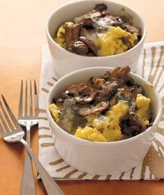 Baked Polenta With Mushrooms and Gorgonzola - think I'll substitute Manchego for the Gorgonzola.