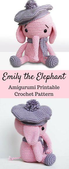 Emily the Elephant Amigurumi Crochet Pattern Printable PDF #ad #amigurumi #amigurumidoll #amigurumipattern #amigurumitoy #amigurumiaddict #crochet #crocheting #crochetpattern #pattern #patternsforcrochet #printable #instantdownload #elephants #pdf