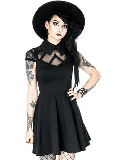 bc4f4d698f514 Restyle's Dark Wednesday Gothic Dress is a short sleeved skater dress with  collar. The alternative