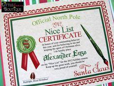 Printable Santa's Nice List Certificate DIY by LittlebeaneBoutique, $5.00