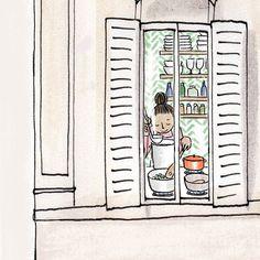 illustration by Kanako Children's Book Illustration, Food Illustrations, Watercolor Illustration, Disneyland Paris, Decoupage, Little Paris, Romanticism, Cat Art, Cute Drawings