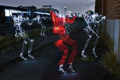 Awesome Life of Light Graffiti Skeletons    We've seen light graffiti before, but none as lively as these skeletons by Los Angeles-based Darius Twin (aka Darren Pearson). Twin began light painting since 2008, after seeing an image from Gjon Mili that captured Pablo Picasso creating a light drawing called Picasso Draws A Centaur.