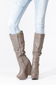Taupe Gold Accent Platform Wedge Boots