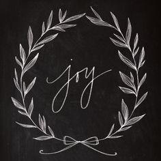 Chalkboard Art - Joy Wreath Art Print