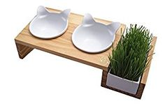 Classy-looking cat food and water bowls with cat grass!! Perfect for keeping your home chic while providing for you cats!!