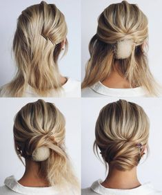 This elegant hairstyle is also suitable for wedding.Low bun wedding hair can match your wedding dress. Bridal hair updo, high updo, short hair updo or bridesmaid hair updo is perfert for wedding hairstyles updo. Save this Easy And Hair Tutorials Dutch bra Medium Hair Styles, Curly Hair Styles, Short Hair Wedding Styles, Wedding Hair For Short Hair, Wedding Hairstyles For Short Hair, Medium Length Hair Updos, Hair Updos For Medium Hair, Thin Hair Updo, Short Hair Updo Easy