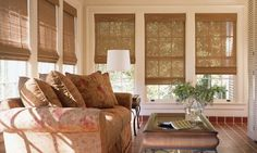 Invite the outdoors in with shades made from natural materials - Provenance® Woven Wood Shades ♦ Hunter Douglas window treatments #SunPorch