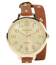 Faux Leather Wrap Watch- Areopostale