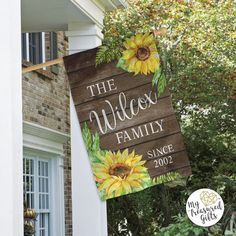 Sunflower House Flag, Personalized Sunflower House Flag, Double Sided House Flag, Welcome Friends Ho House Flag Pole, House Flags, Garden Flag Stand, Garden Flags, Sunflower House, Front Porch, I Am Awesome, Display, Prints