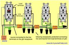 wiring diagram for a row of receptacles multiple receptacles rh pinterest com Wiring Multiple GFCI Outlets Wiring Multiple Outlets Together