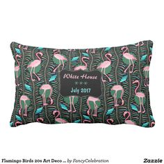 Flamingo Birds 20s Art Deco Ferns Summer Home Name Lumbar Pillow