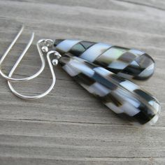 Unique Intarsia Black Oyster Mother of Pearl Teardrop by westbyron, $42.00