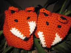 Crochet Fox Mittens to go with the fox scarf!! neat