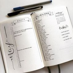 Bullet Journal, monthly log and gorgeous lettering and Writing. Bullet Journal Inspo, Bullet Journal Agenda, Bullet Journal Page, Bullet Journal Monthly Spread, My Journal, Journal Pages, Bullet Journal Events, Bullet Journal Sections, Bullet Journel