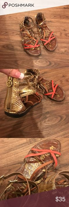 Sam Edelman size 7 gladiator sandals Sam Edelman size 7 gladiator sandals. Worn but in good condition. Too small for me now. Zip up back. Super cute Sam Edelman Shoes