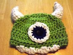 Crocheted hat, Green One-Eyed Monster