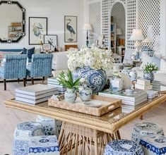 Amy Berry Home: Dallas Design Crush - Katie Considers Wicker Table, Wicker Chairs, Wicker Furniture, Bunny Williams Home, Floral Sofa, Blue And White Pillows, Pastel House, Green Palette, Peacock Design