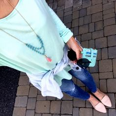 IG @mrscasual <click through to shop this look> mint loose basic tee. Banana republic skinny distressed ankle skinny jeans. Nude flats. Denim jacket. Pink tassel necklace. Black rayban avaiators.