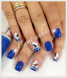 Mis uñas Cute Summer Nails, Spring Nails, Mani Pedi, Pedicure, Blue Nails, My Nails, Natural Acrylic Nails, Finger, Blue Nail Designs