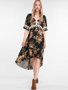 759536a4f66 ZAFUL Asymmetric Floral Tassel Boho Dress - Black S Boho Dress