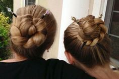 Hair twins! Big braided buns held with hair sticks from Lilla Rose. Check out the July 2016 special, you can get free hair sticks with your qualifying order!