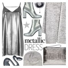 """Metallic Dress"" by alexandrazeres ❤ liked on Polyvore featuring River Island, McQ by Alexander McQueen, MANGO, Yves Saint Laurent, Pure Collection, metallic, fashionset and metallicdress"