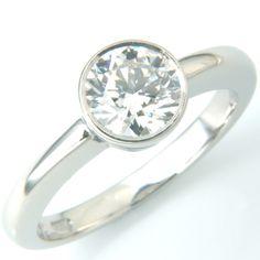 18ct White Gold Rub Set Diamond Solitaire Engagement Ring. Form Bespoke Jewellers.  #bespoke #solitaire #diamond #engagement #ring #Yorkshire