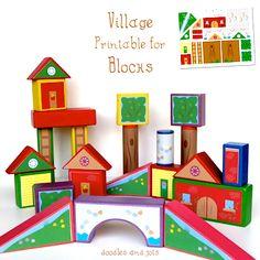 Doodles and Jots village printable for blocks
