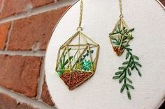 Handcrafted Embroidery Hoop Art & Needlework Patterns by erinmcmoms Embroidery Transfers, Hand Embroidery Patterns, Vintage Embroidery, Embroidery Thread, Cross Stitch Embroidery, Thread Art, Embroidery For Beginners, Embroidery Techniques, Hanging Succulents