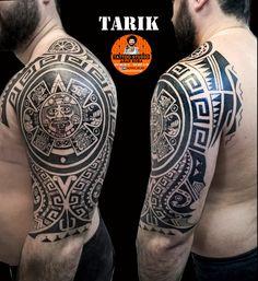 Ornamental tattoo on shoulder by Dyadya Vova Aztec Tattoos Sleeve, Aztec Tribal Tattoos, Aztec Tattoo Designs, Tribal Shoulder Tattoos, Mens Shoulder Tattoo, Tattoo Sleeve Designs, Inka Tattoo, Tattoo On, Forearm Tattoo Men