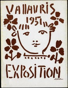Cartel exposición de cerámica en Vallauris Pablo Picasso 1951 España