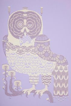 Bubo Scandiacus by Klaus Haapaniemi / silkscreen on lilac paper, print in cream and purple Whimsical Owl, Purple Owl, Handprint Art, Poster Prints, Art Prints, Beautiful Posters, Owl Print, Silk Screen Printing, Art Images