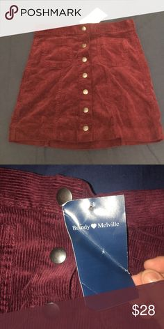 NWT brandy Melville maroon button up skirt One size Brandy Melville Skirts