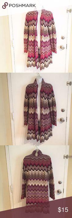Long Chevron Open Knit Cardigan Long length Chevron patterned Knit Open Cardigan. Size XL.  #long #cardigan #knit #sweater #open #chevron #layering #xl #cozy #comfy #colorful #punkydoodle  No modeling Smoke free home I do discount bundles liz & co Sweaters Cardigans